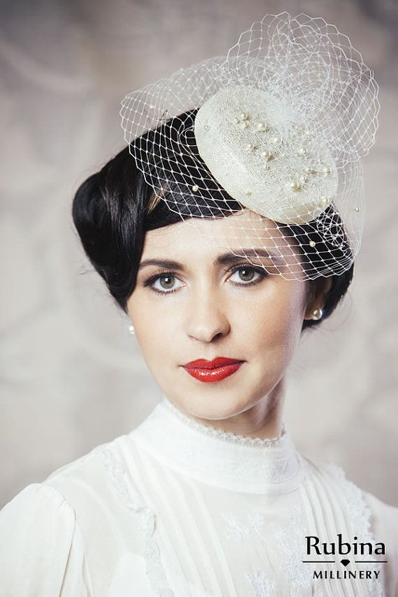 85f9ec87b457b Bridal Pillbox Hat Fascinator with Birdcage Veil and Swarovski Pearls by  RUBINA Millinery  bridal  wedding  pillbox  hat  pearls  artdeco  flapper    ...