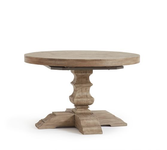 Banks Round Pedestal Extending Dining Table Gray Wash Round