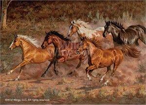 Chris Cummings Framed Studio Canvas Open Edition Downhill Run Horses Canvas Horse Art Horses Horse Painting