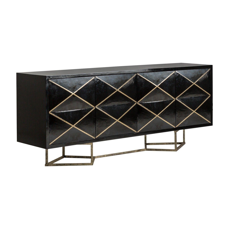 Buffet Style Art Deco Noir Et Or Style Art Deco Deco Salon Mobilier De Salon