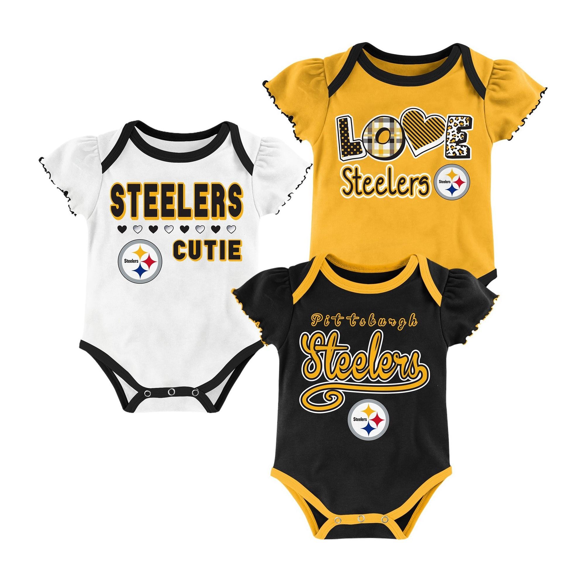Pittsburgh Steelers Baby Girls 3pk Bodysuit Set 12 M Size 12