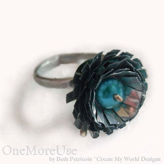 Ring Recycled Flower fused plastic freshwater pearl by OneMoreUse, $20.00