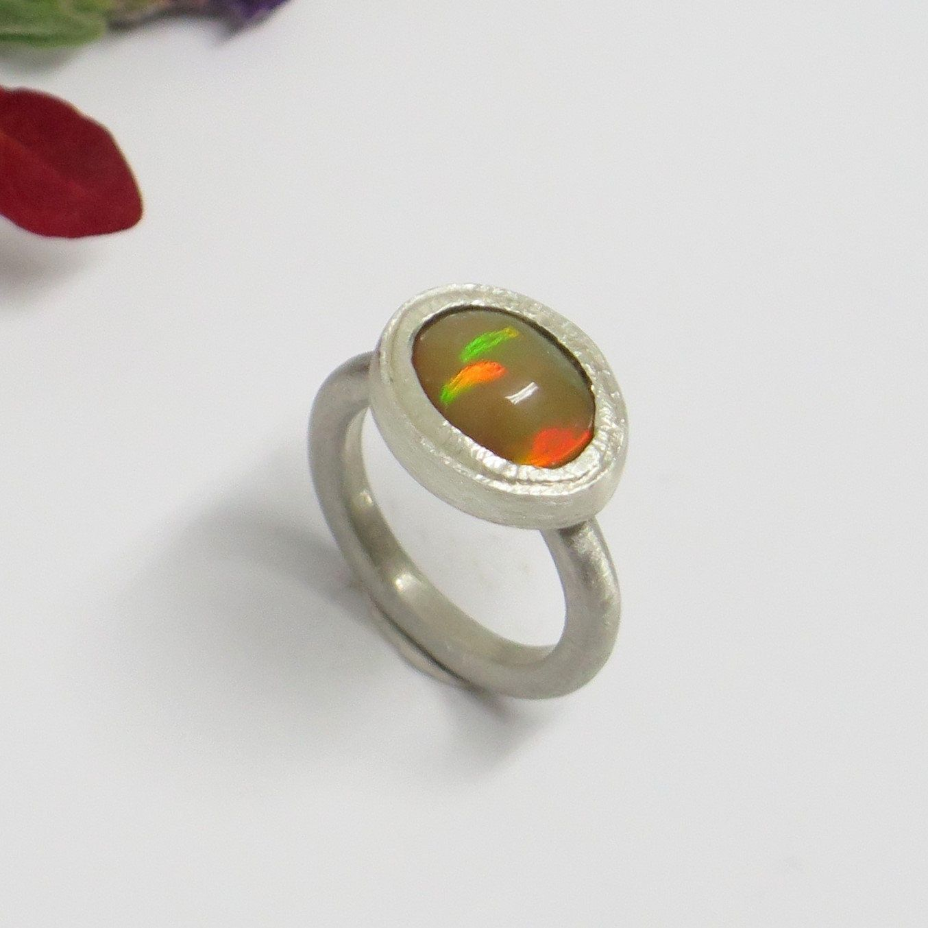 Matte silver Ethiopian Welo opal ring Natural opal promise ring Wide band opal ring Opal cabochon ring Rustic ring Ecofriendly ring Matte silver Ethiopian Welo opal ring...