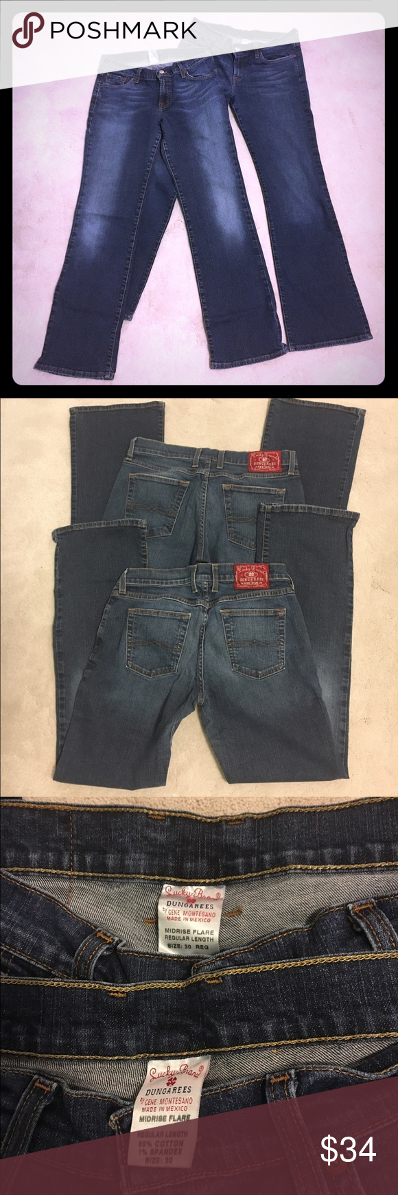 "2 pairs of Lucky Brand Jeans size 30 reg. length Mid rise Flare but more of a bootcut fit. The zipper on one pair works but if you overextend it, the zipper comes out but can be easily put back in place. Let me know if that is a problem and would only like the ""good"" pair. The hem is naturally worn and was purchased this way. Lucky Brand Jeans"