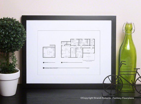 The Simpsons House Floor Plan Blackline Poster for TV Home of Marge & Homer Simpson 2nd Floor Expertly Hand Drawn with lots of detail