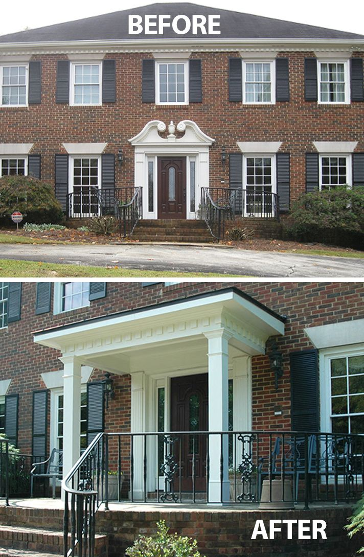 Flat roof portico designed and built by georgia front for Georgian front porch designs
