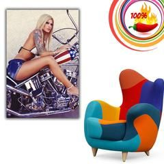 Hot Sexy Blonde Girl Woman Chopper Motorcycle Bike Motorbike Poster