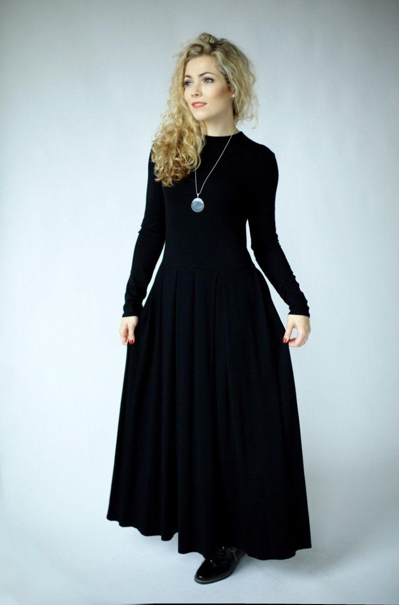 19 Kleid Mit Ärmeln in 19  Schwarzes kleid langarm, Maxikleid