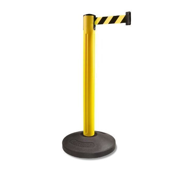 Crowd Control Retractable Belt Post Barrier Line Guide Yellow Safety Ribbon 12ft #Lavi
