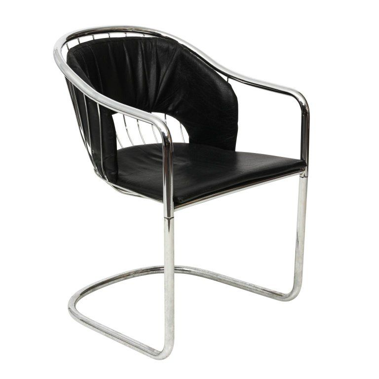 Chrome And Black Leather Armchair By Cidue | Black leather ...