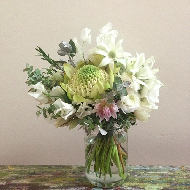 Gorgeous bridal bouquet with australian and south african natives gorgeous bridal bouquet with australian and south african natives and spring pretties white waratah flannel flowerseptember mightylinksfo Gallery
