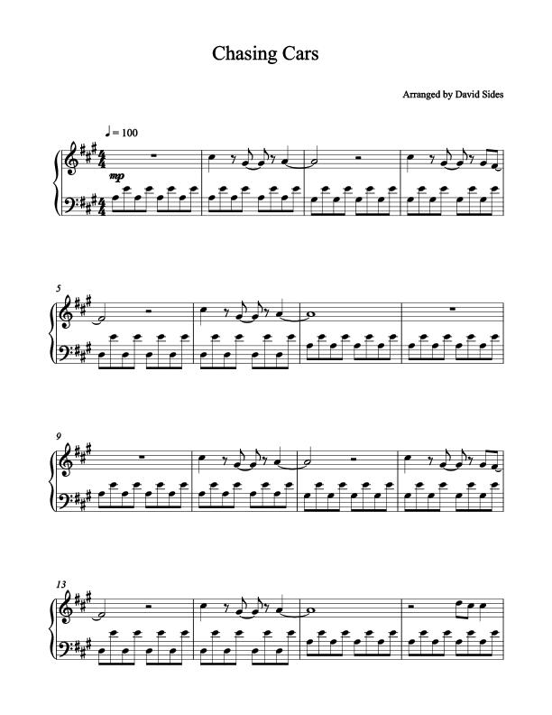 Chasing Cars (Snow Patrol) Piano Sheet Music | Chasing cars, Piano ...