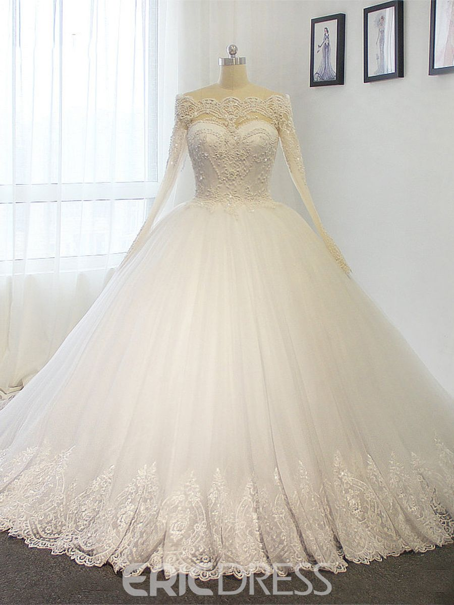 Off the shoulder ball gown long sleeves appliques beaded wedding
