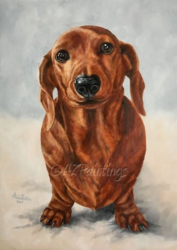 Oil Painting Of A Miniature Dachshund And A Work In Progress By