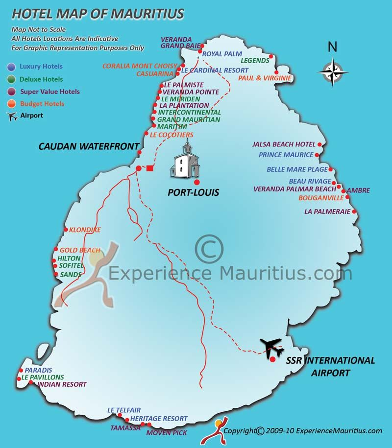 Mauritius Hotel Location map and resort location map of Mauritius