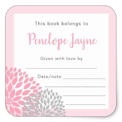 Girl Baby Shower Bookplate, bring a book Square Sticker - Sample Address Book Template