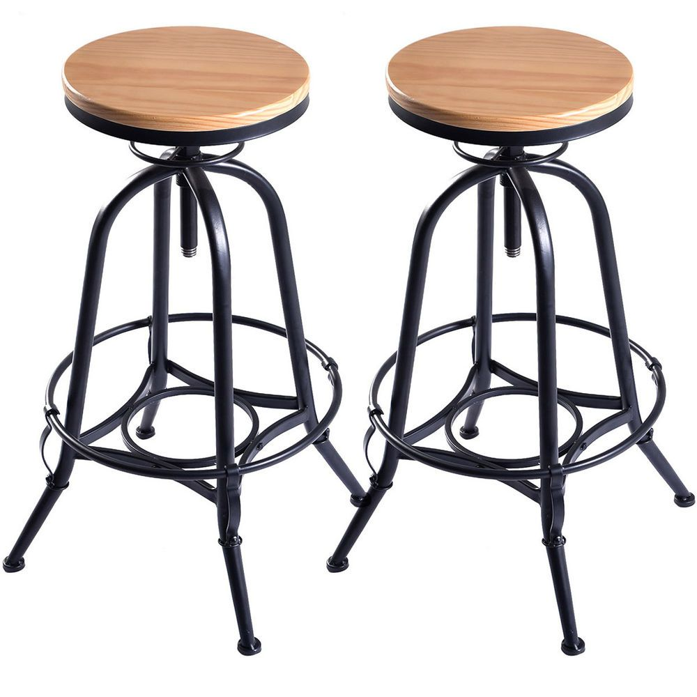 Surprising Details About Set Of 2 Vintage Bar Stools Industrial Metal Gmtry Best Dining Table And Chair Ideas Images Gmtryco