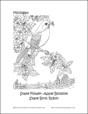 Michigan coloring page for road trip binders Road Trip