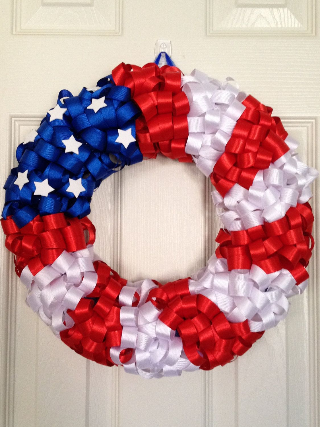Photo of American flag ribbon wreath; Sale; Patriotic decor; Memorial day; Labor Day; July 4th; Veterans day; American flag