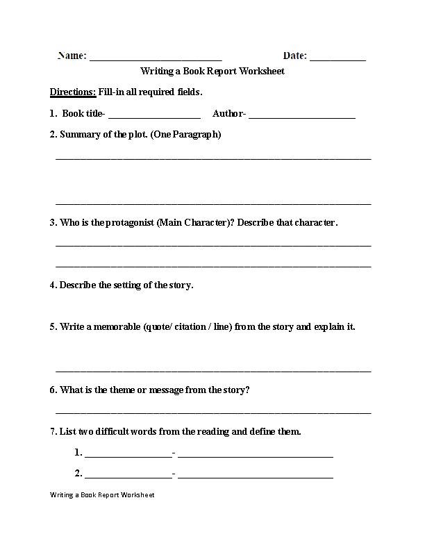 Writing a Book Report Worksheet   Englishlinx.com Board   Pinterest ...
