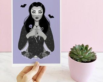 Gothic Home Decor Morticia Addams Family Art Print in 3 colours