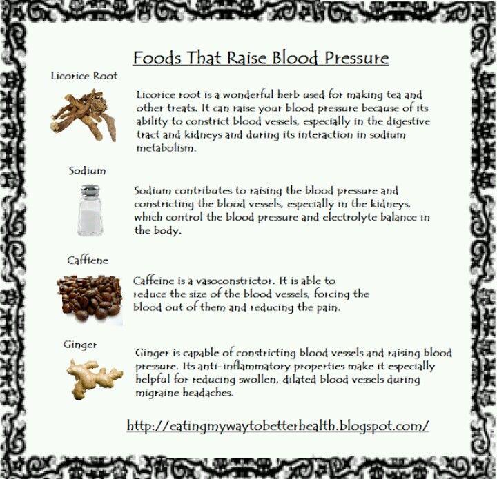 Foods that raise blood pressure tea Pinterest