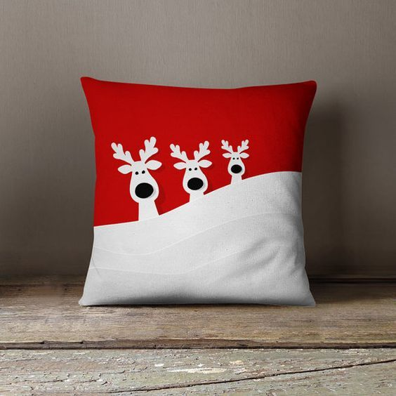 Christmas Pillow Covers Santa S Reindeer Family In The Snowy