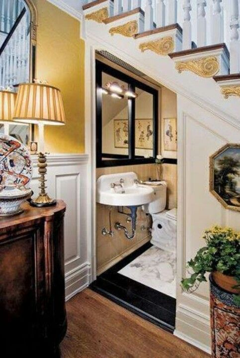 Powder Room Under The Stairs, Great Use Of Otherwise Empty Space.