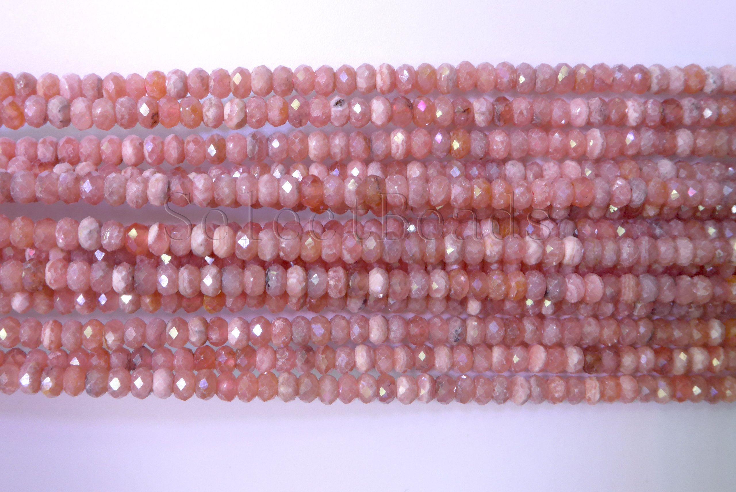 """Pink Round Rhodochrosite Gemstone Loose Beads 15/"""""""