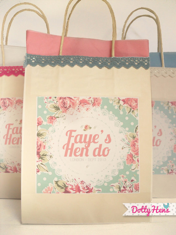 Personalised Hen Party Gift Favour Bag Paper Pink vintage flower