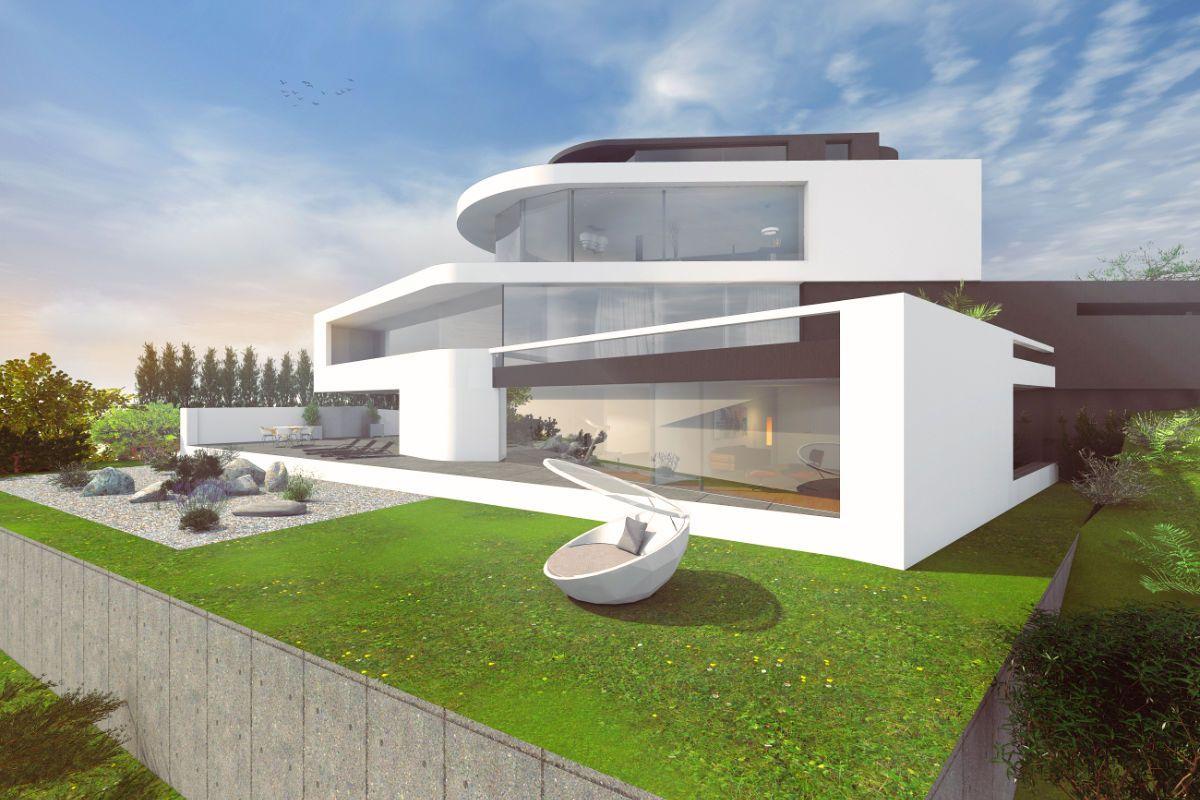 Luxuriöse Hangvilla Am Rhein Mit Panoramblick In Moderner Architektur,