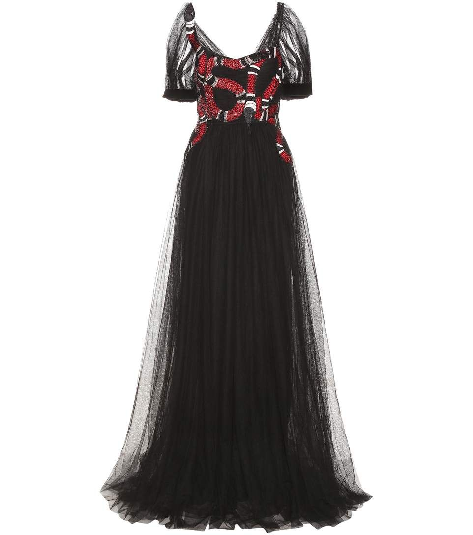 Elegant Embroidery Embellishment Ball Gown Traditional: Embellished Embroidered Tulle Gown In Black