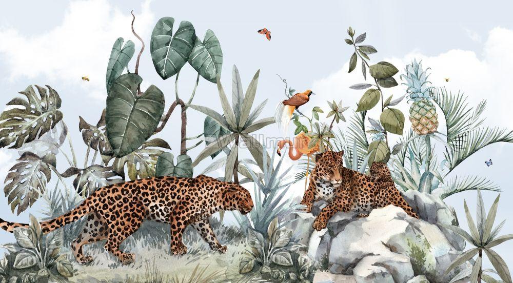 2020 的 Kids Watercolor Forest with Leopard Wild Animals