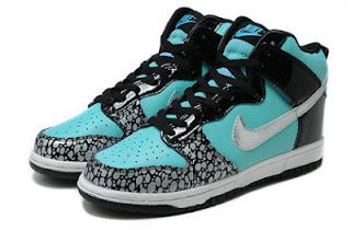 SB Dunk Girls Nike High Tops Shoes Tiffany Custom Black Metallic Silver For  Sale | Colorful
