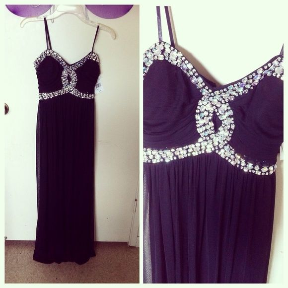 Black keyhole bling long prom dress Chiffon black bling keyhole prom dress, it's brand new and nice for prom. jcpenney Dresses