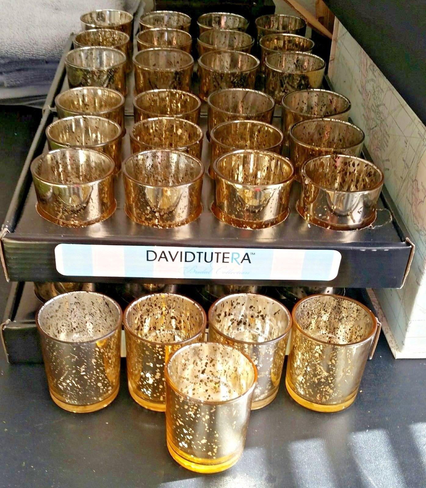 David Tutera Wedding Centerpiece Ideas: Set Of 36 David Tutera Gold Mercury Glass Votive Candle