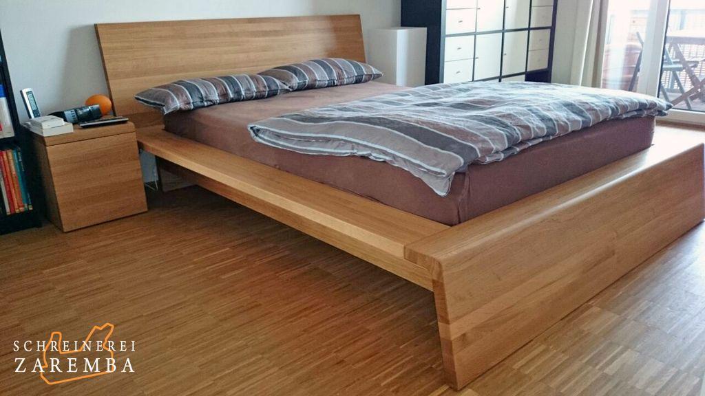 Eiche Massivholz Bett und Nachttisch (Schreinerei-Zaremba, Frechen - dream massivholzbett ign design