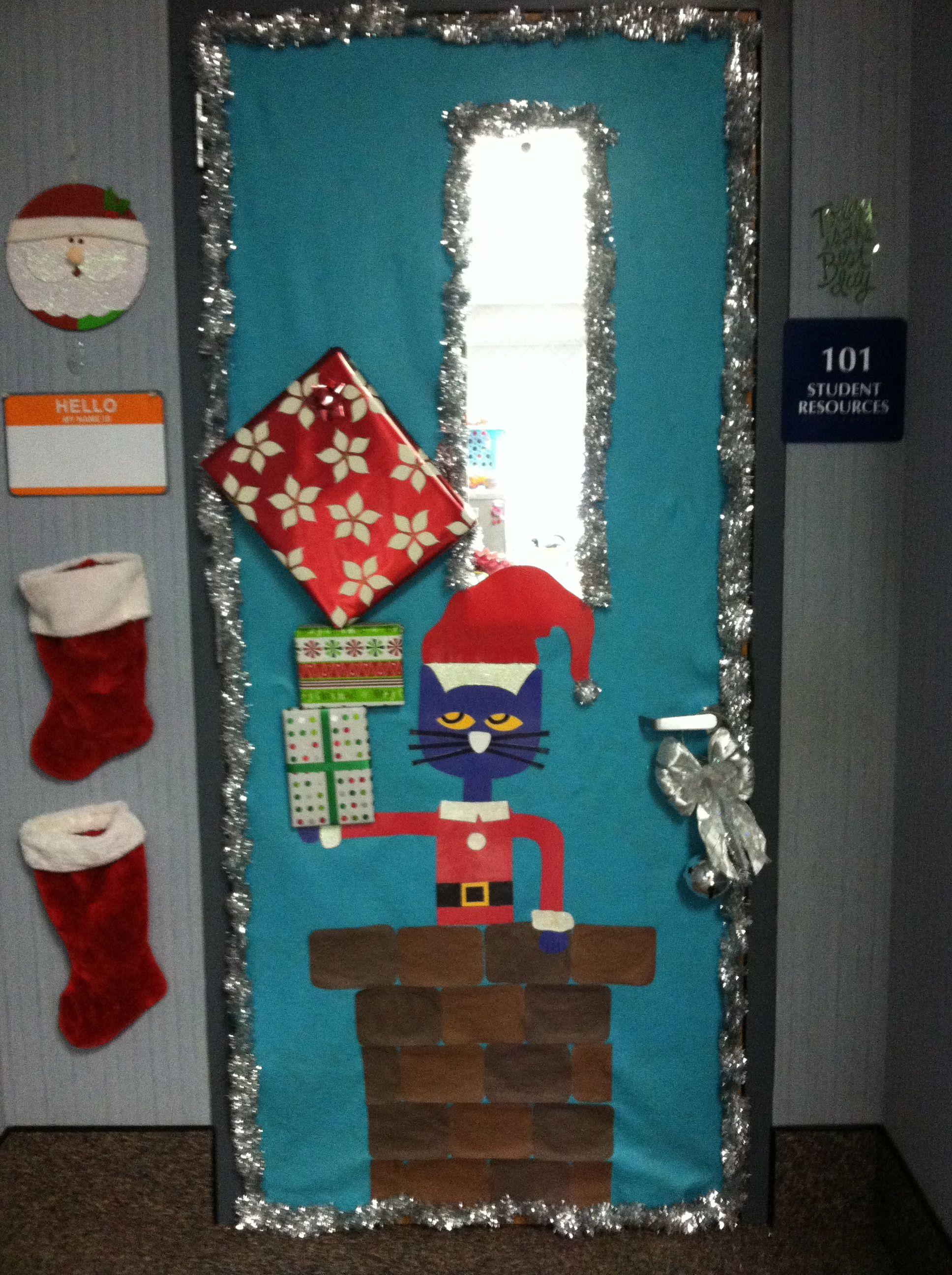 Pete the Cat Christmas door!! Christmas classroom, Door