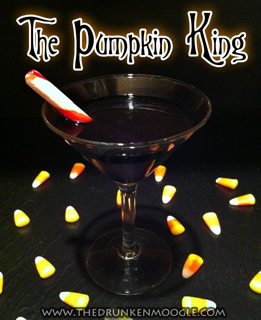 "The Pumpkin King (The Nightmare Before Christmas Cocktail)  Ingredients:   2 oz Eristoff Black (mixed berry vodka)  1 oz Godiva Chocolate Raspberry vodka  Directions:   Stir ingredients with ice and pour into a cocktail glass.    Serve with a peppermint stick as a stir.    The berry and chocolate flavors make this cocktail a good choice during both and Halloween and Christmas seasons.  ""I'm a master of fright, and a demon of light, and I'll scare you right out of your pants!"" -Jack Ske"