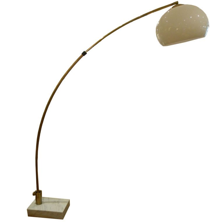 Large Brass Arc Floor Lamp With Marble Base From A Unique Collection Of Antique And Modern