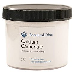 Calcium Carbonate (also referred to as chalk) is a white powdery mineral that is a common addition to the madder dye bath to deepen shades.