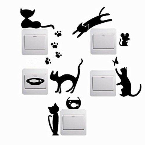 5Pcs 3D Kitten Pattern Bedroom Switch Stickers Wall Stickers Waterproof DIY Wall