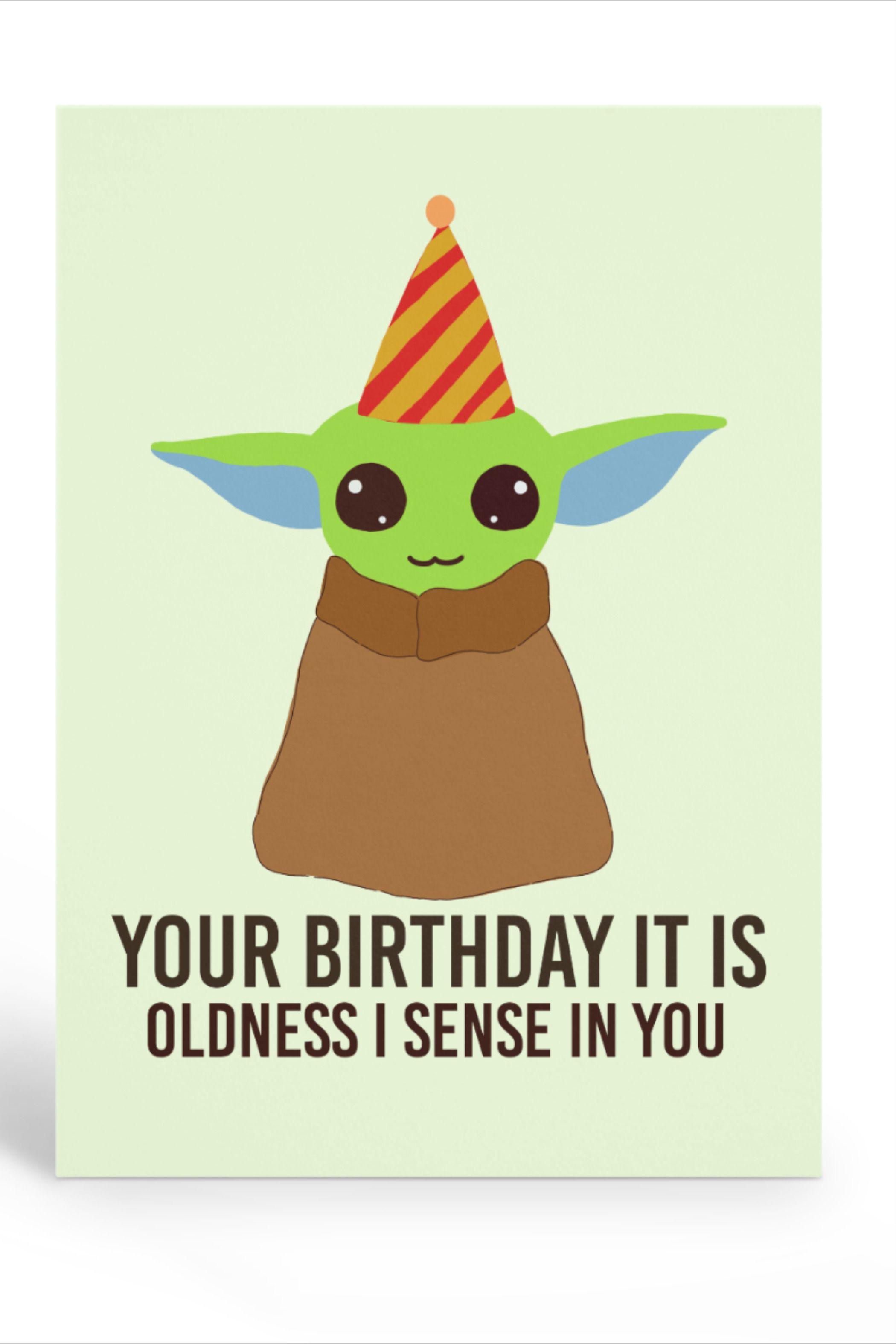 Baby Yoda The Mandalorian Birthday Card Yoda Happy Birthday Cool Birthday Cards Yoda Card