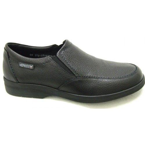 Black Leather Slip-on Shoes | Mephisto Jodio Grain Black Leather Slip On  Shoes