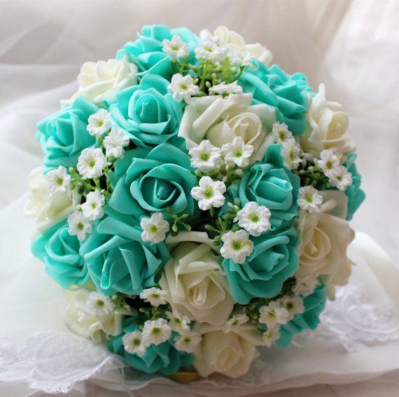 Turquoise Wedding Bouquet Flowers Bridal White Silk Ribbon Fake Flower Bouquets Sh Dj 018