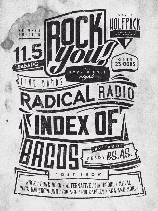 Rock You  Flyers Ideas    Rock And Typography