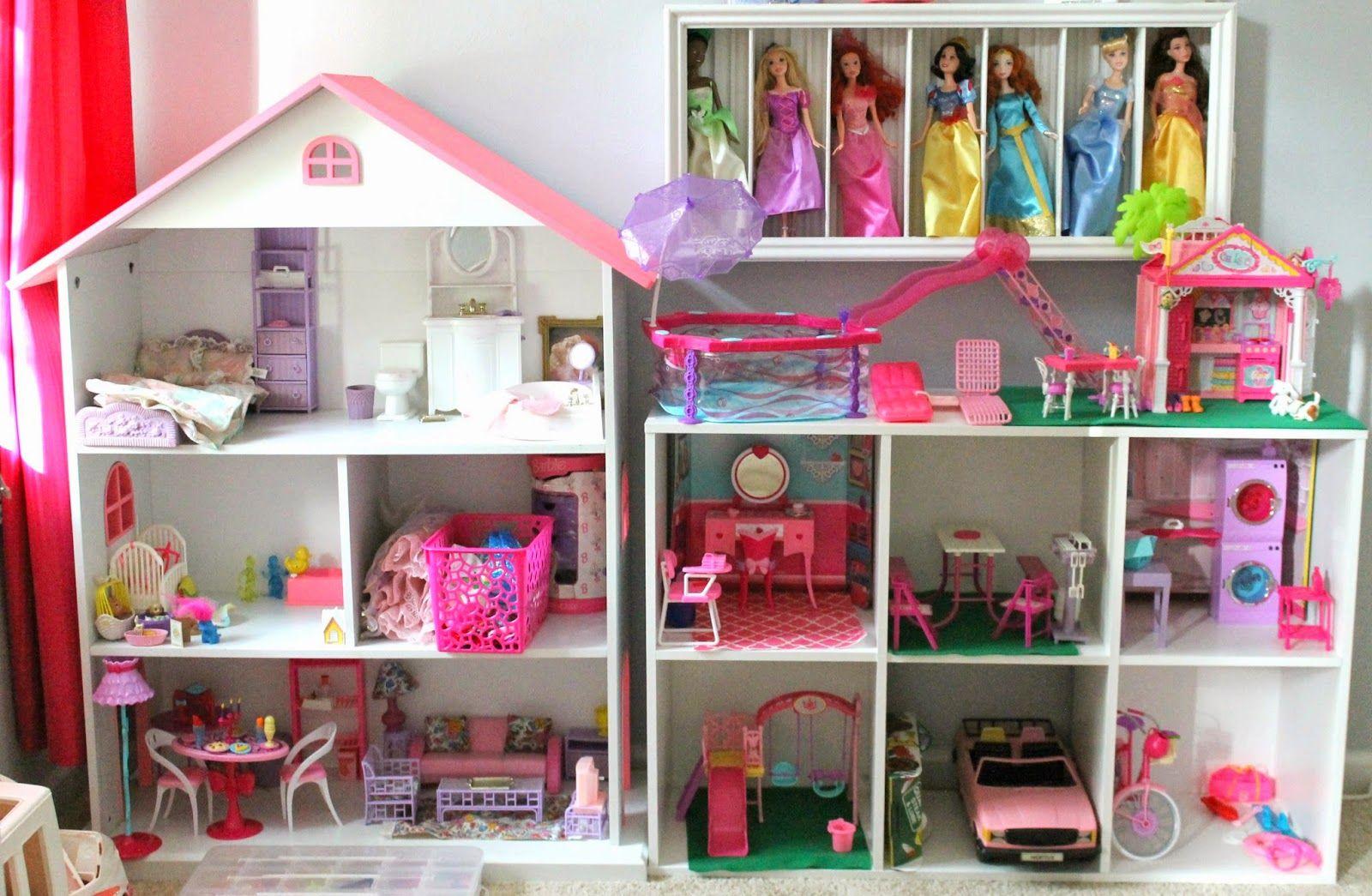 DIY Barbie house using a bookshelf and cube shelf from