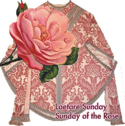 """Fourth Lenten Sunday traditionally called Laetare Sunday. Laetare means """"Rejoice.""""   Priests dress in rose-colored vestments - not Lenten purple. It is so called as the color of the vestments is """"rosacea,"""" and not pink. Laetare was also called Dominica de rosa…Sunday of the Rose. It didn't take a lot of imagination to develop rose colored vestments from this. Find more: http://catholicism.about.com/od/holydaysandholidays/f/Laetare_Sunday.htm"""
