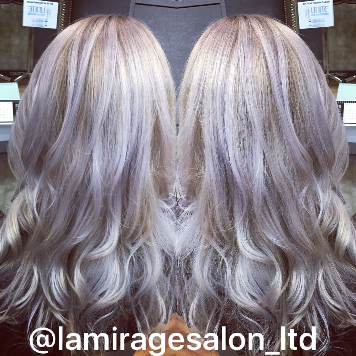 Platinum Blonde Highlights With A Lilac Glaze And A Long Layered Haircut By Bethany Beliz To Sched Platinum Blonde Highlights Hair Styles Platinum Blonde Hair