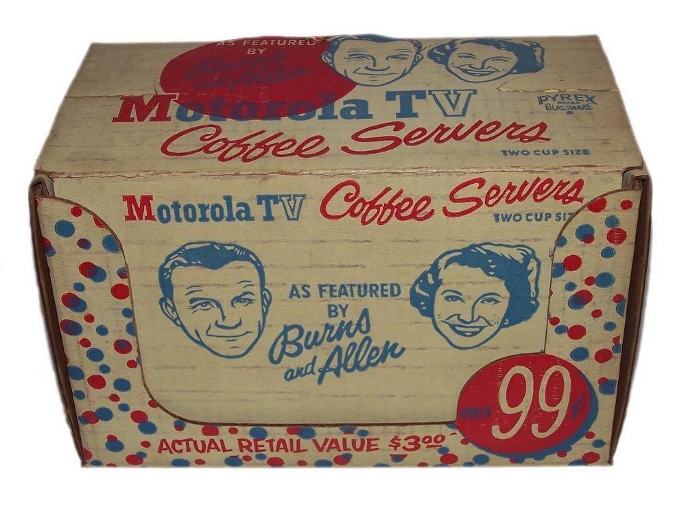Vintage 1950's George Burns & Allen Pyrex Coffee Servers NIB Unused